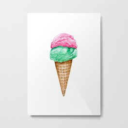 Strawberry and Mint Ice Cream in Watercolor Metal Print
