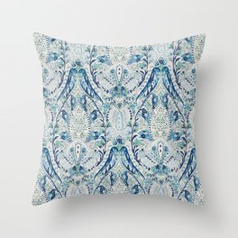 Green Blue Leaf Flower Paisley Throw Pillow