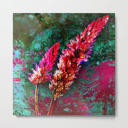 359 15 Abstract Pink Cattails Metal Print