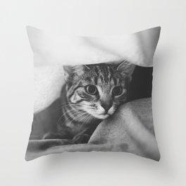 hunting cat black & white Throw Pillow