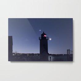 Moon Venus and the Annisquam Lighthouse Metal Print