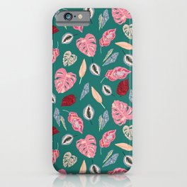Tropical houseplants in teal iPhone Case