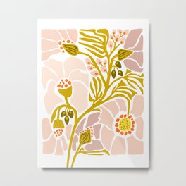 Light Backyard flower modern floral illustration  Metal Print