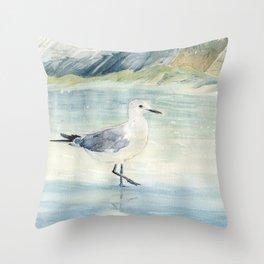 Seagull on the beach Throw Pillow