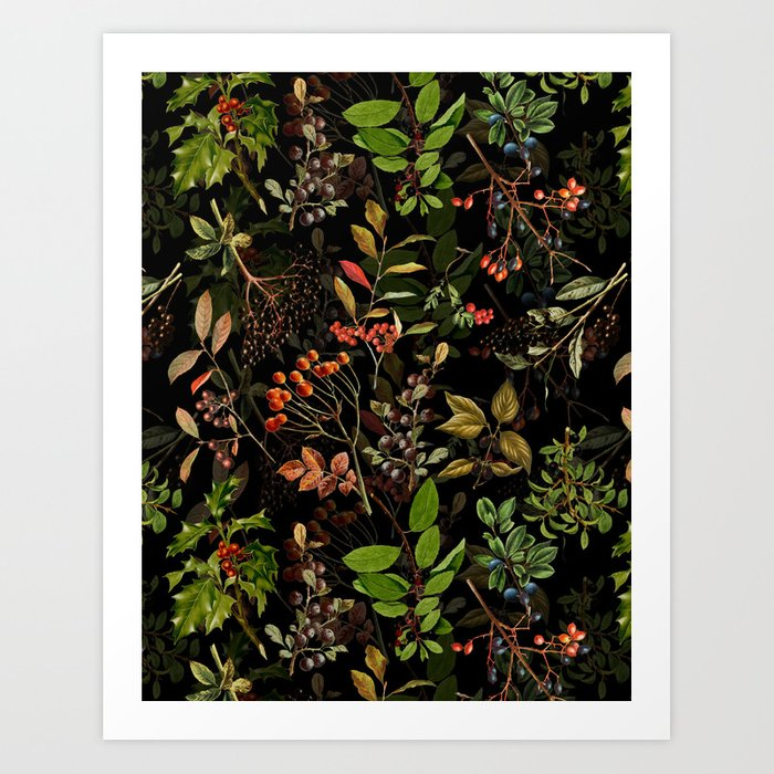 Vintage & Shabby Chic - vintage botanical wildflowers and berries on black Kunstdrucke