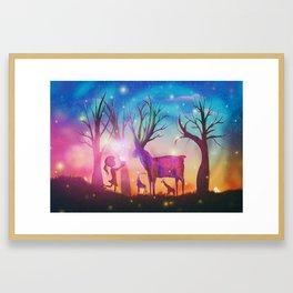 Girl meeting magical forest animals Framed Art Print