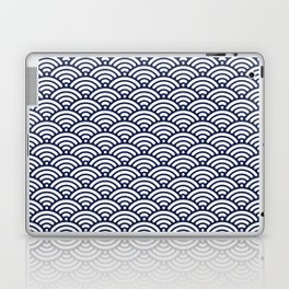 Navy Blue Seigaiha Sea Wave Nautical Minimalist Laptop & iPad Skin