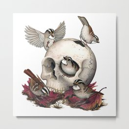 White-throated Sparrows Forage Amongst Human Remains Metal Print