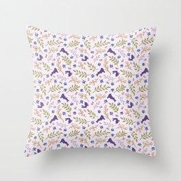 Ditsy Bunnies Amok - Purple Bunnies, Pink Background Throw Pillow