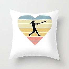 Girls Softball Gift design Throw Pillow