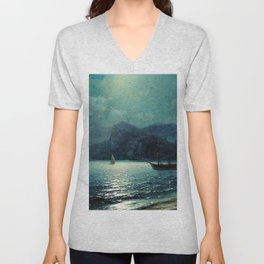 Shipping in a bay by Moonlight - Attributed to Ivan Aivazovsky Unisex V-Neck