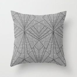 Art Deco in Black & Grey - Large Scale Throw Pillow