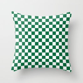 White and Cadmium Green Checkerboard Throw Pillow