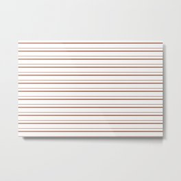 Sherwin Williams Cavern Clay Horizontal Line Pattern on White 3 Metal Print