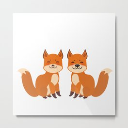 cute fox, boy and girl with funny face and fluffy tails on white background Metal Print