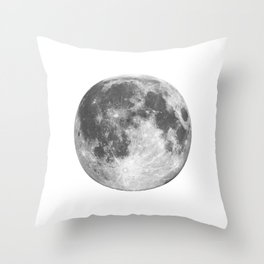 Full Moon phase print black-white monochrome new lunar eclipse poster home bedroom wall decor Throw Pillow