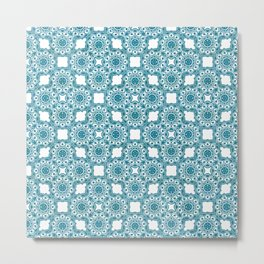 Turquoise Flower Doodle with Digital Glitter Effect -Graphic Design Pattern Metal Print