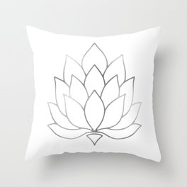 Silver Foil Lotus Flower Throw Pillow