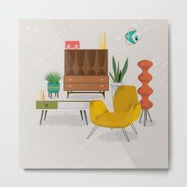 Mid Century Modern Retro Livingroom Metal Print