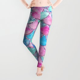 Colorful Pink and Blue Watercolor Trendy Glitter Mermaid Scales  Leggings