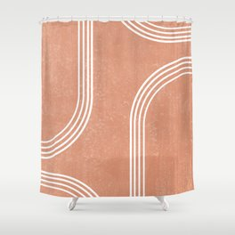 Mid Century Modern 2 - Geometrical Abstract - Minimal Print - Terracotta Abstract - Burnt Sienna Shower Curtain