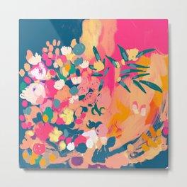 Abstract florals- pink, blue, orange  Metal Print