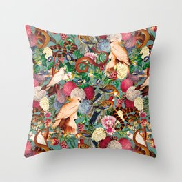Floral and Animals pattern Throw Pillow