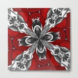 Red Black and White Kaleidoscope Metal Print