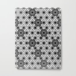 Japanese Asanoha or Star Pattern, Black and White Metal Print