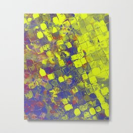 Take The First Step - Abstract, blue and yellow pattern Metal Print