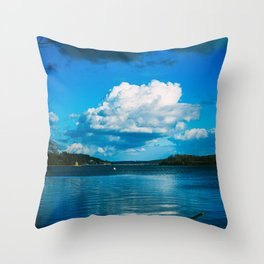 Cloudy Möhne Reservoir Lake Throw Pillow