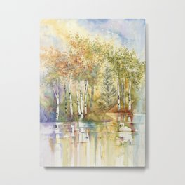 Lazy Day on Swan Lake Metal Print