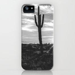 Saguaro Sunrise // Black and White Arizona Desert Landscape Photography Cactus Sun Rays iPhone Case