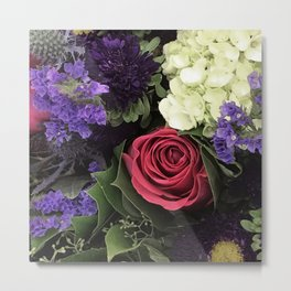 French Lavender and Red Rose Floral Bouquet Metal Print