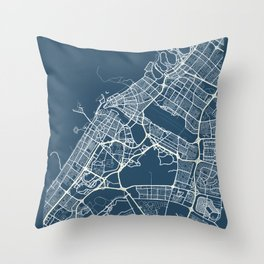 Sharjah Blueprint Street Map, Sharjah Colour Map Prints Throw Pillow