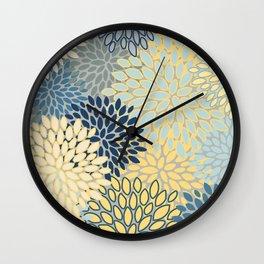 Floral Print, Yellow, Gray, Blue, Teal Wall Clock