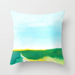 Distant forest abstract landscape Throw Pillow