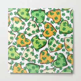 Retro Vintage St Patricks Day Green Hearts Irish Metal Print