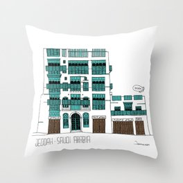 Jeddah AlBalad Souq AlJami Facade Turquoise Throw Pillow
