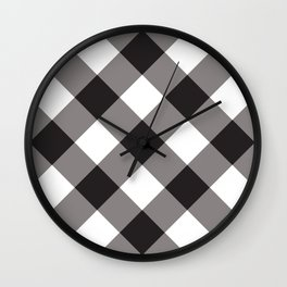 Gingham - Black Wall Clock