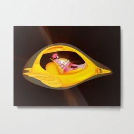 Time Barney girl and airship Metal Print