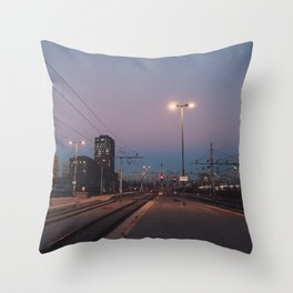 Sunset railway town Throw Pillow