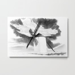wind mill landscape digital aquarell aqbw Metal Print