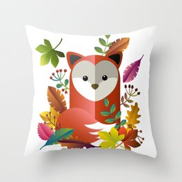 Cute Fox with Autumn Leaves Throw Pillow