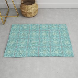 Vintage Fleur-de-lis Tile in Old World Tile Pattern Rug