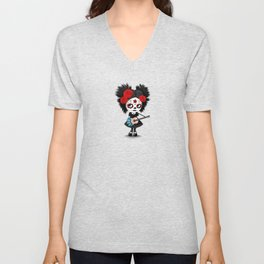 Day of the Dead Girl Playing Newfoundland Flag Guitar Unisex V-Neck