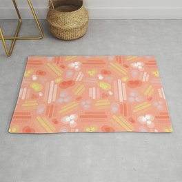 Abstract geometric shapes. Stripes rectangles dots bubbles circles orange coral white pink yellow on a peach background. Layered geometric shapes. Rug