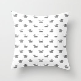 Wedding White Silver Crowns Throw Pillow