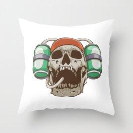 Skull Beer Throw Pillow