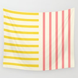 Perpendicular Lines 2 pink and yellow  Wall Tapestry